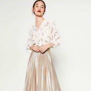 Zara Gold Metallic Pleated Accordion Midi Skirt